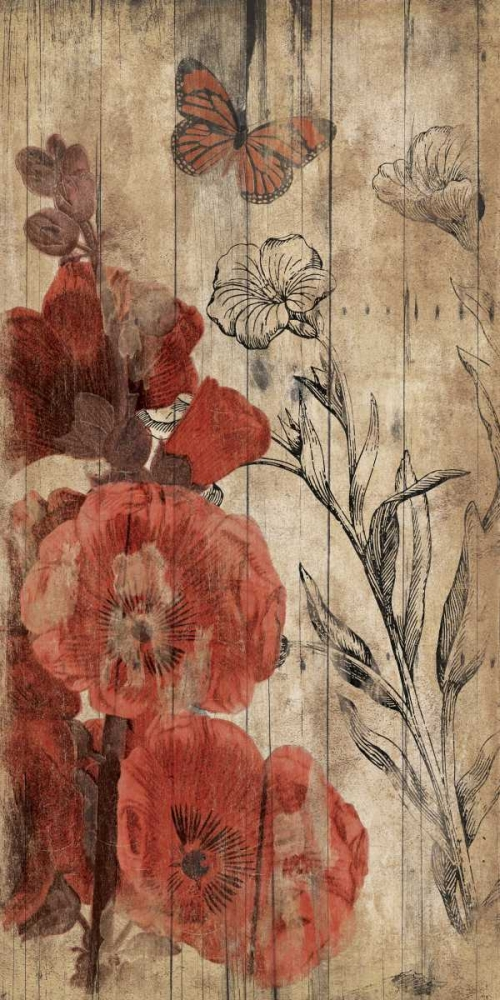 Wood Floral Red Grey, Jace 37478