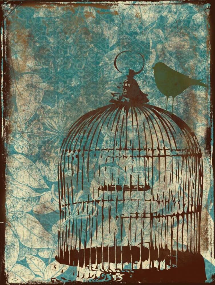 Birdcage on Teal 1 Grey, Jace 25973