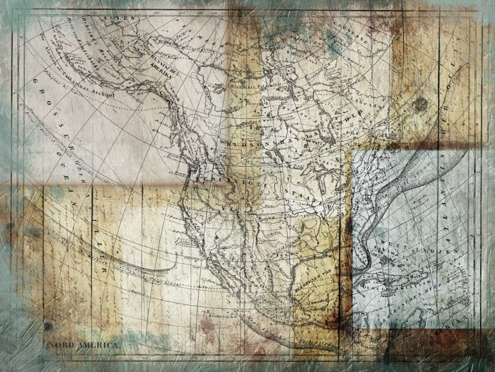 Rustic Map Two Grey, Jace 106444