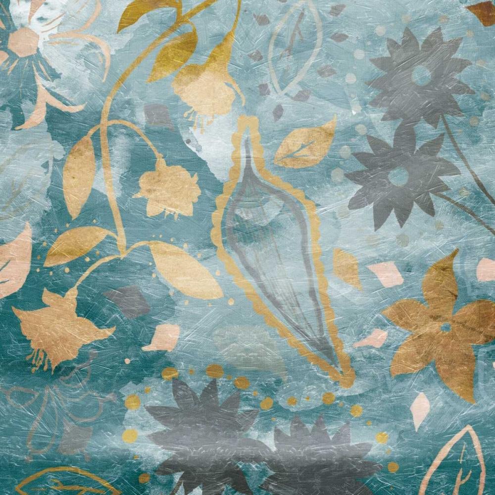Golden Teal Florals Mate Grey, Jace 106539