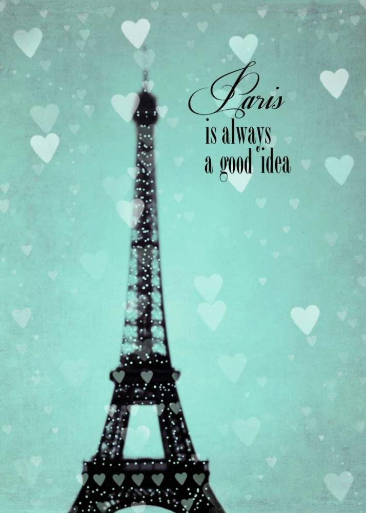 Teal Hearts Over Paris 1 Telik, Tracey 107010