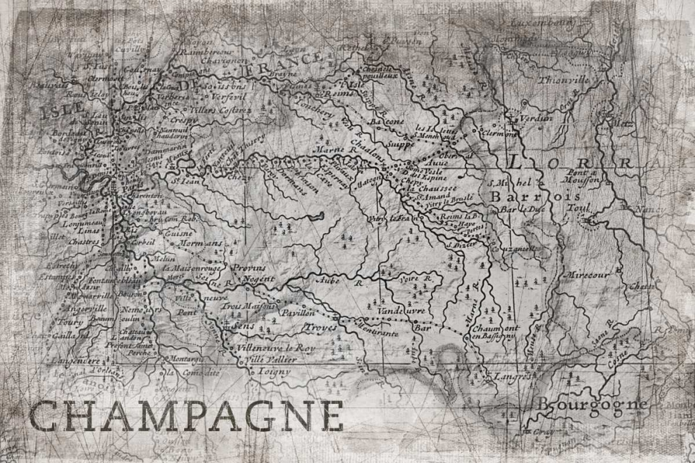Champagne Map White PI Galerie 80222