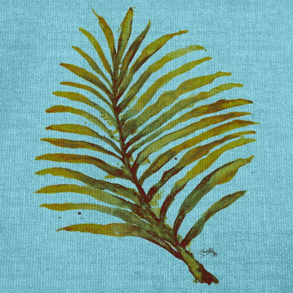 Leaf on Teal Burlap Medley, Elizabeth 160029