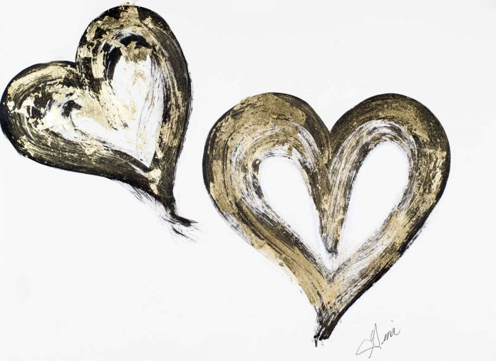 Two Gold and Black Hearts Ritter, Gina 160067