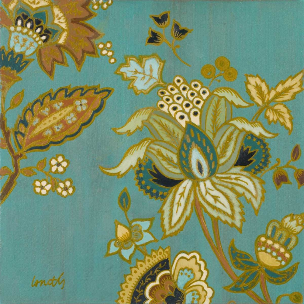 European Floral on Teal II Loreth, Lanie 15457