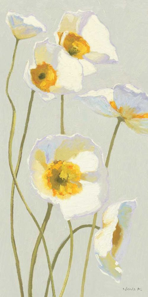 White on White Poppies Panel I Novak, Shirley 18481