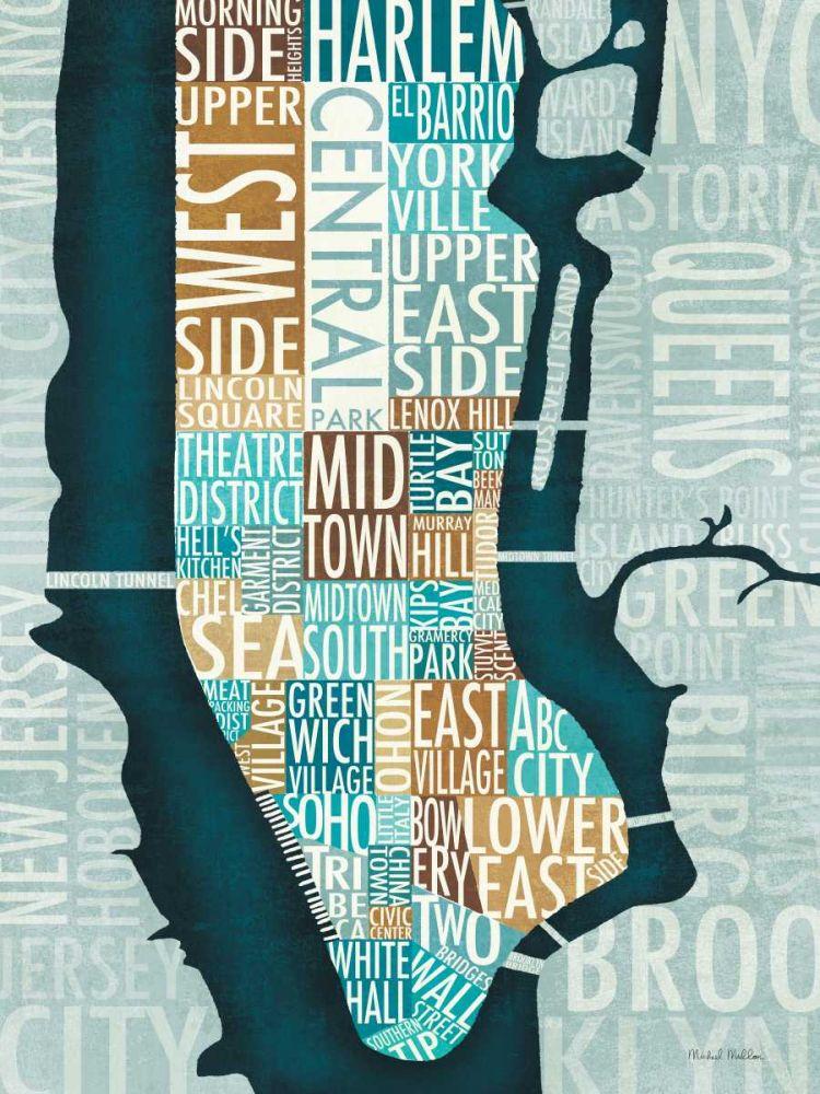 Manhattan Map Blue Brown Mullan, Michael 28159