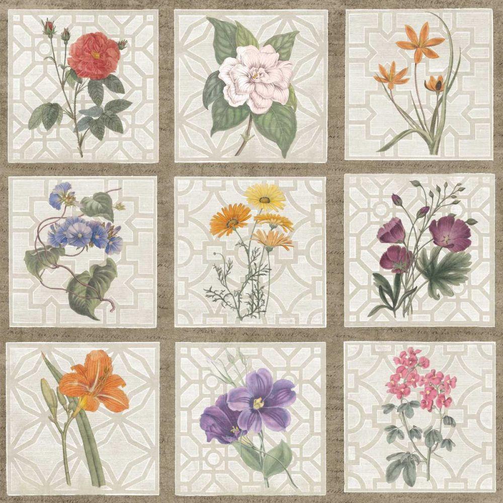 Monument Etching Tile Flowers Square I Wild Apple Portfolio 21076