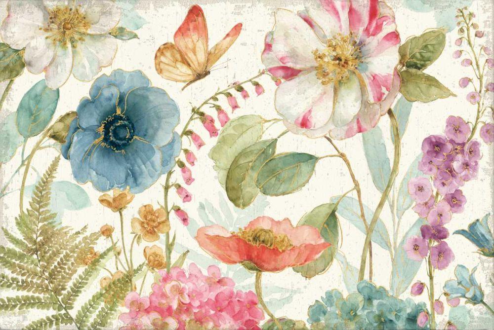 Rainbow Seeds Flowers I on Wood Cream Lisa, Audit 93263