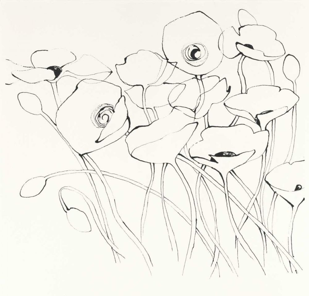 Black Line Poppies I Novak, Shirley 93385