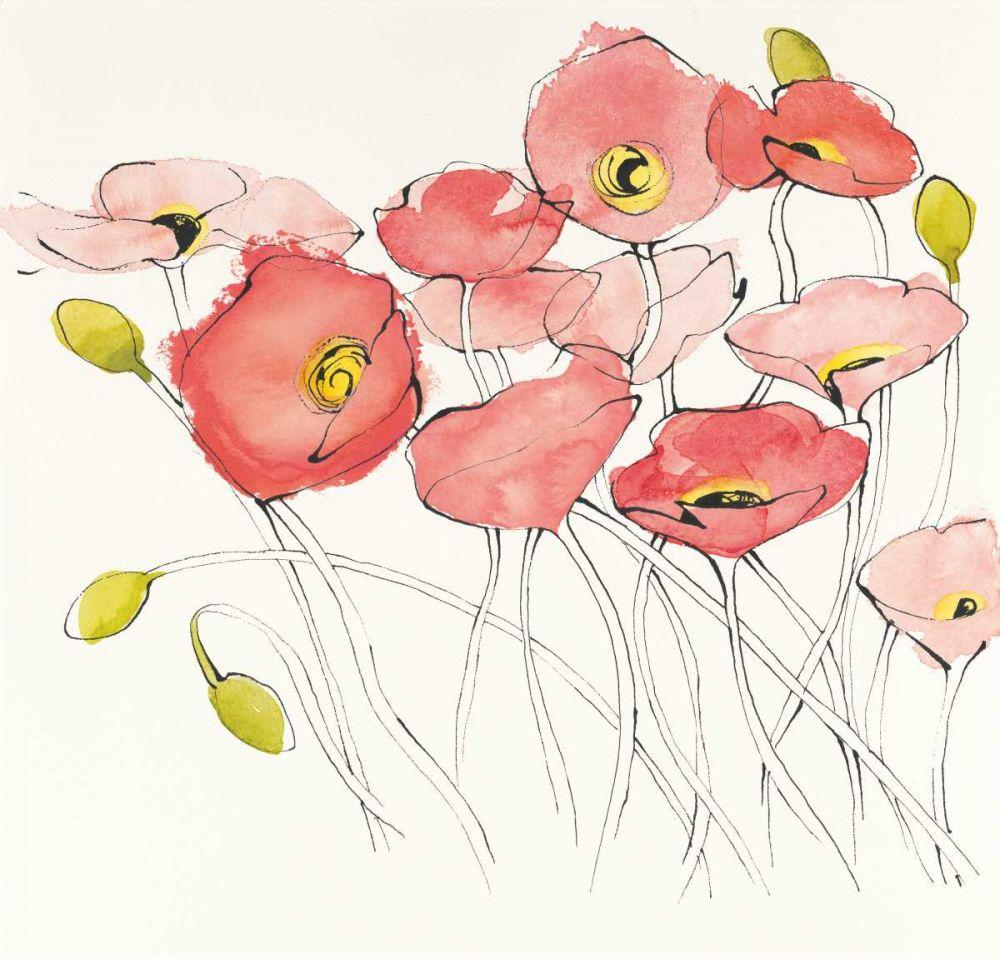 Black Line Poppies I Watercolor Novak, Shirley 93451