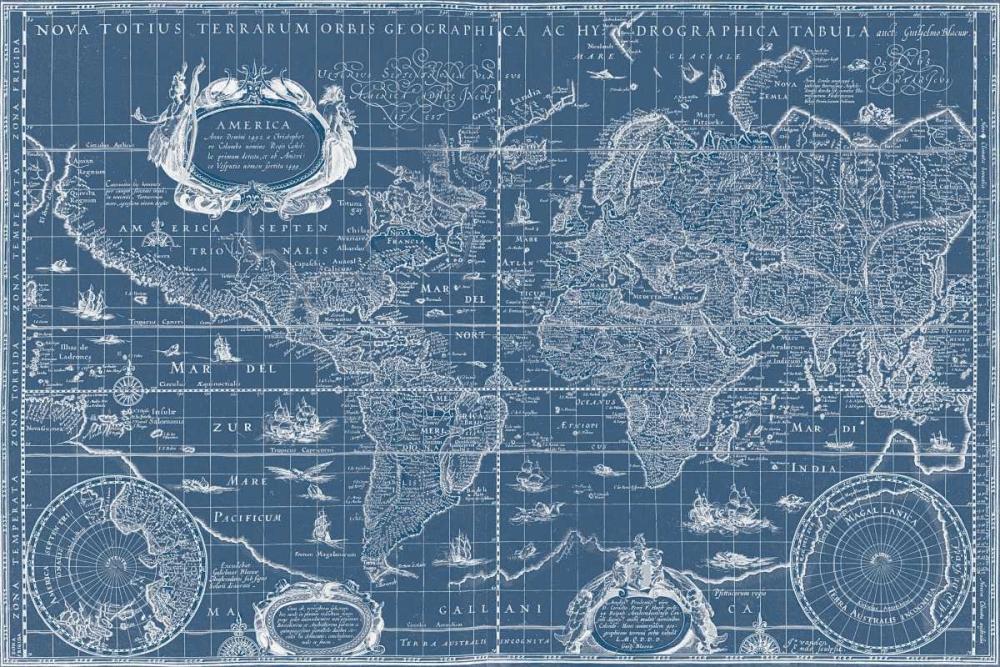 Blueprint World Map Blaeu, Willem 37036