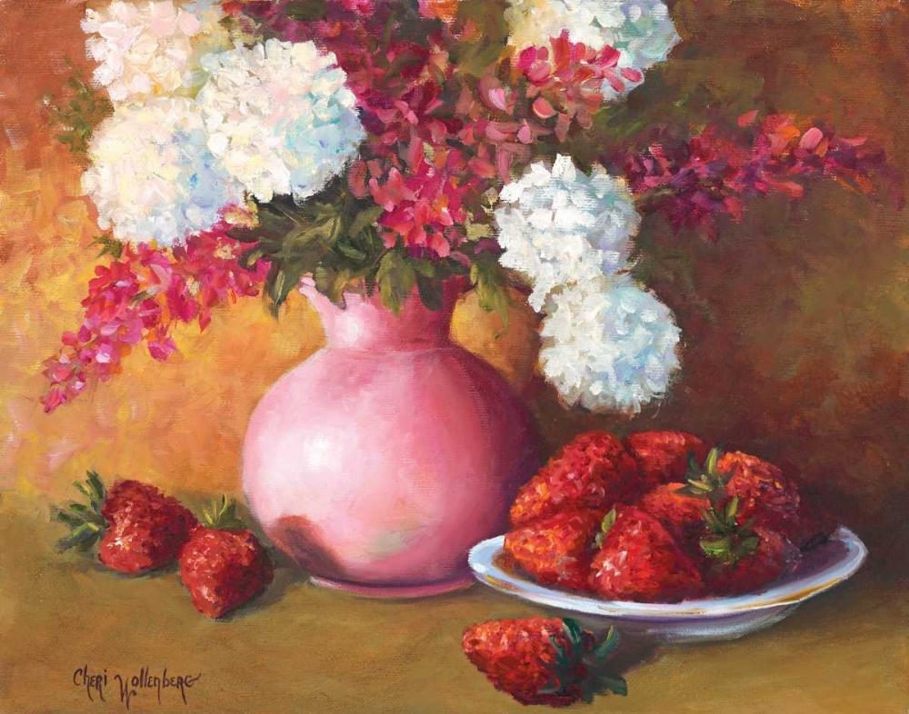 Pink Vase and Strawberries Wollenberg, Cheri 55917