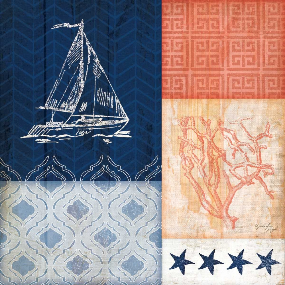 Coral and Navy Coastal II Pugh, Jennifer 80960