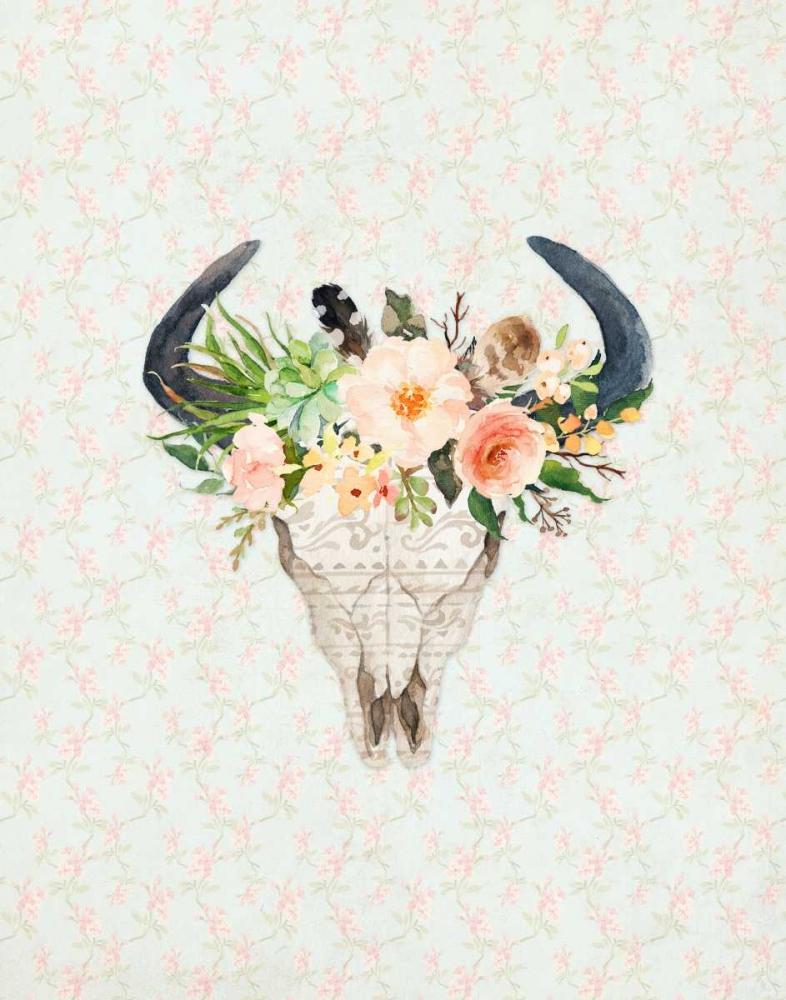 Bull Skull on Floral Moss, Tara 83389