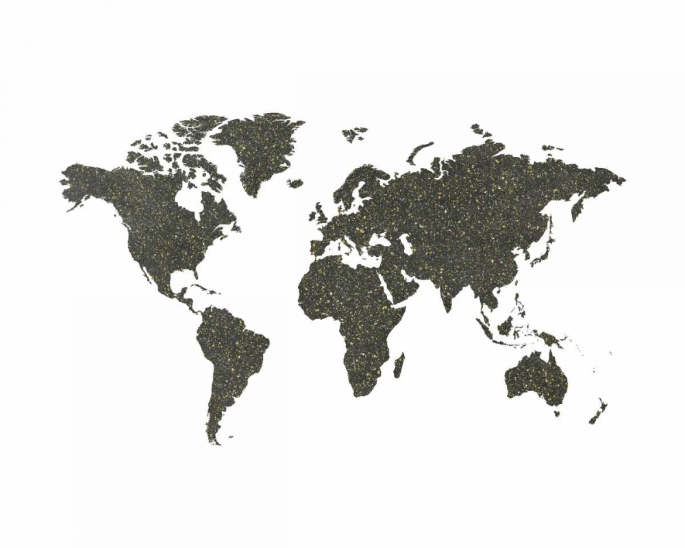 World Map Chalkboard and Gold Moss, Tara 105166