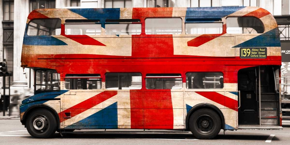 Union jack double-decker bus, London Pangea Images 117872