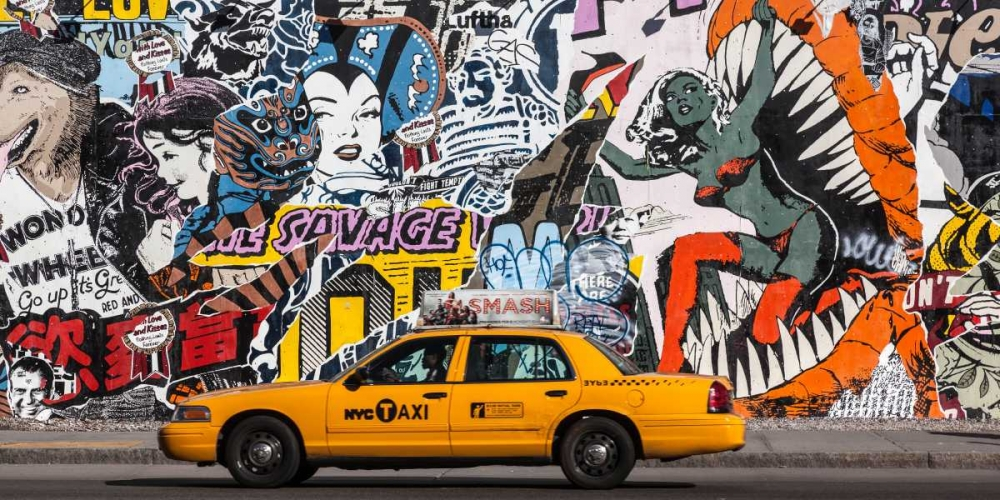 Taxi and mural painting in Soho, NYC Setboun, Michel 117947