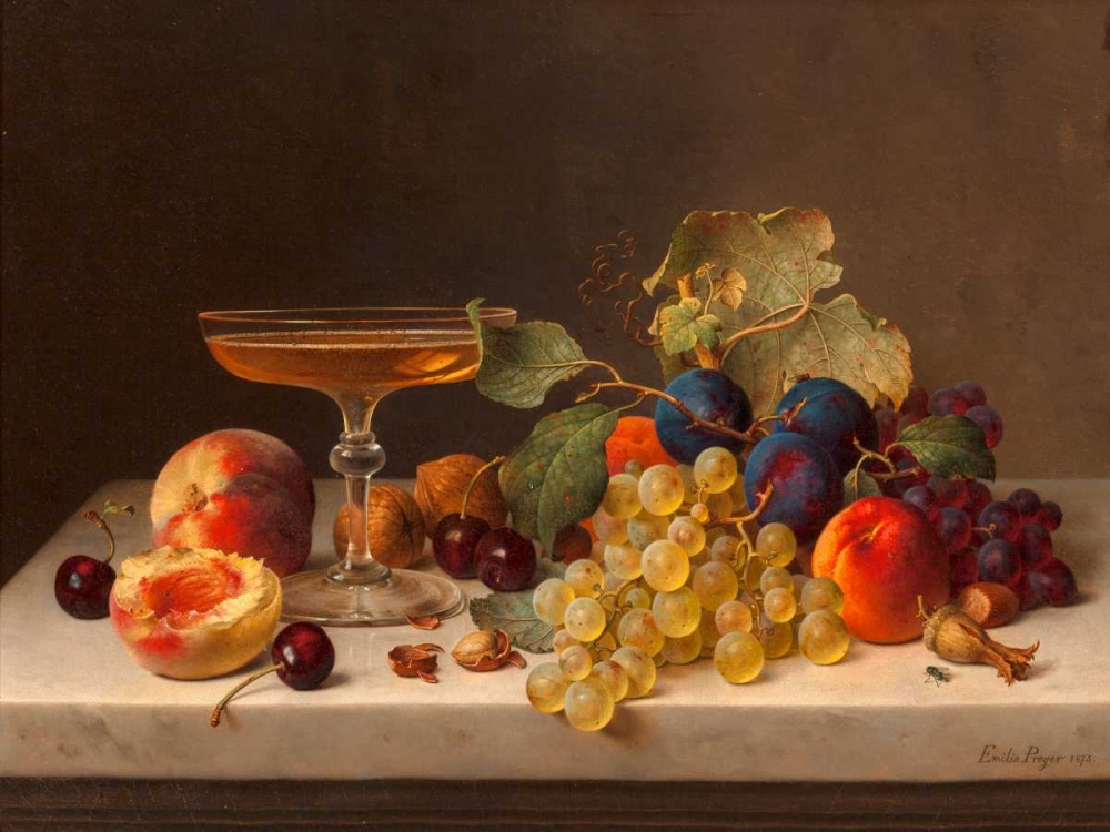 Still life with summer fruits and champagne Preyer, Emilie 117992
