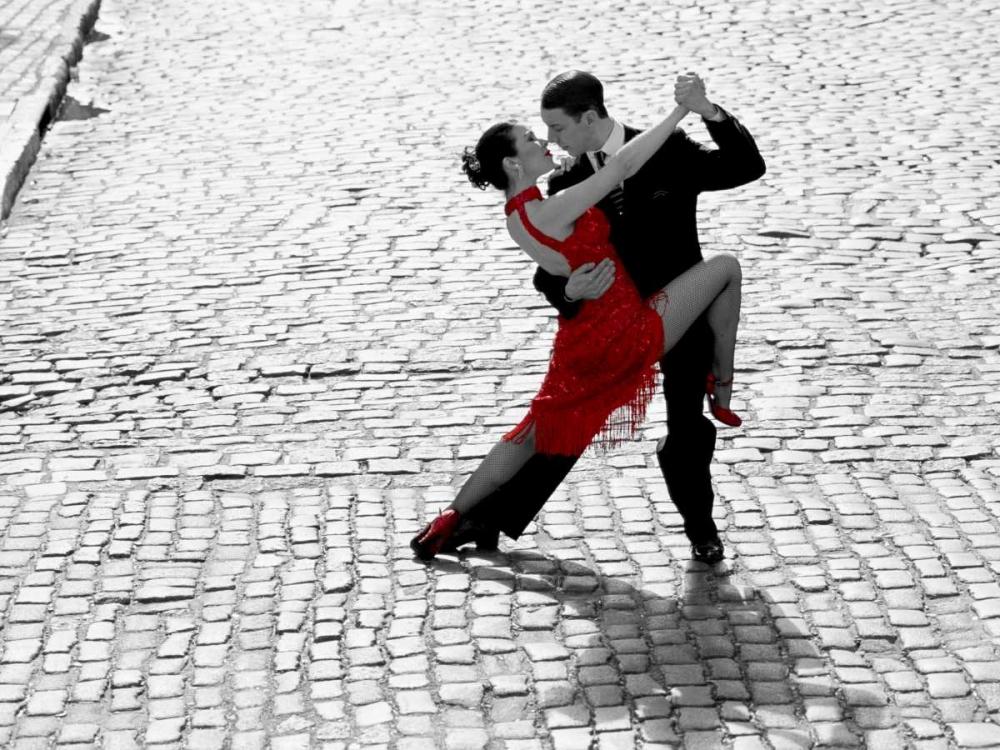 Couple dancing Tango on cobblestone road Anonymous 44112