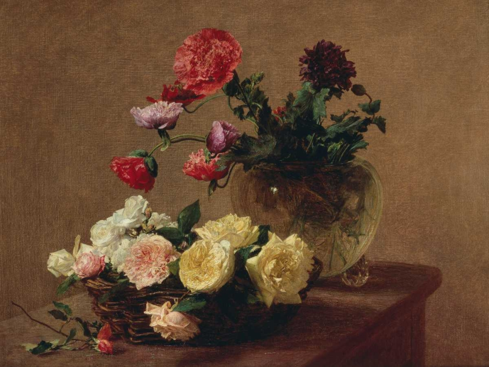 Poppies in a Crystal Vase and Roses in a Basket (detail) Fantin-Latour, Henri 162794