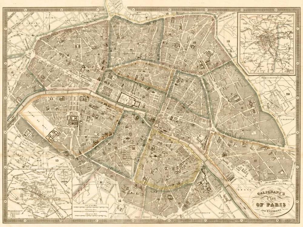 Plan of Paris and Environs, 1865 Galignani, Antonio 162805