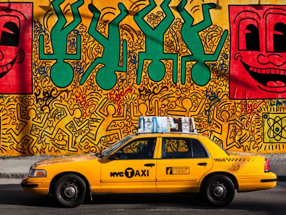 Taxi and mural painting, NYC Setboun, Michel 118136