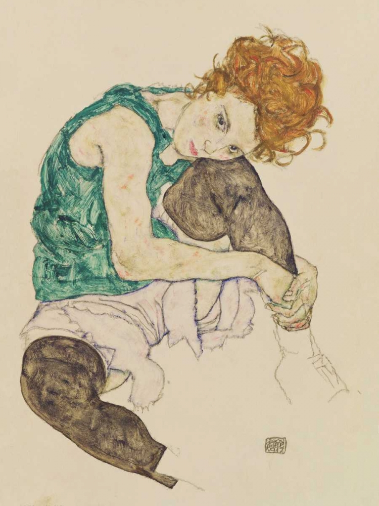 Seated Woman with Bent Knee Schiele, Egon 162919
