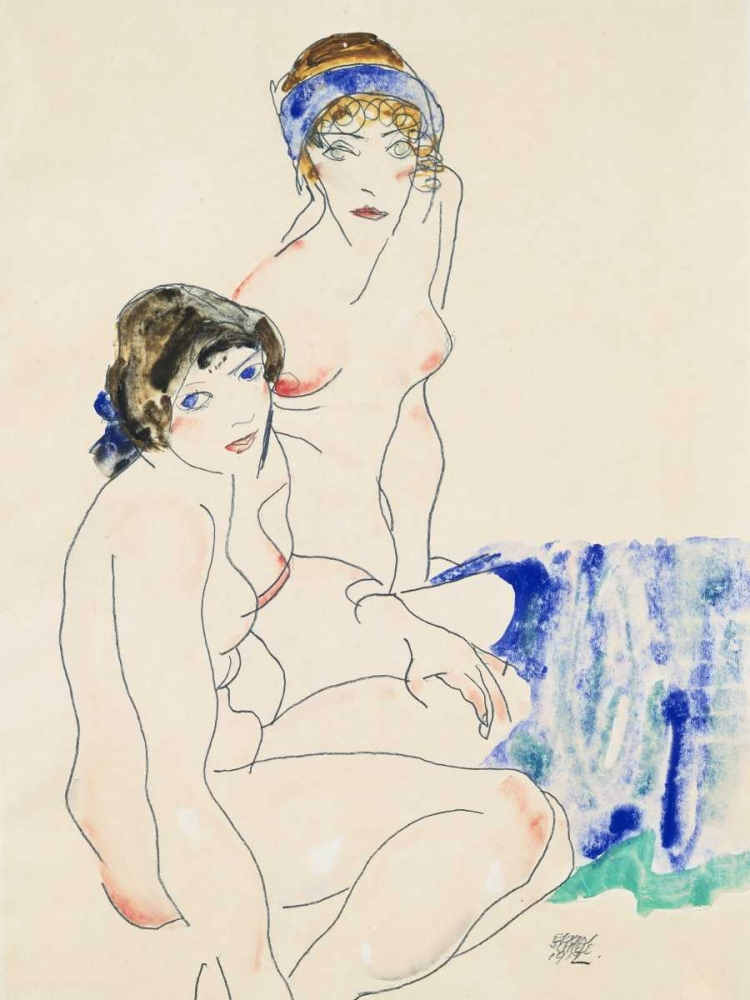 Two Female Nudes by the Water Schiele, Egon 162922