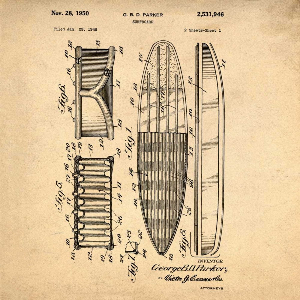 Surfboard - 1948-Antique Cannon, Bill 124923
