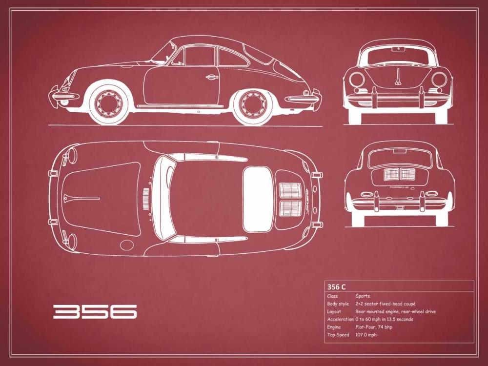 Porsche 356C-Maroon Rogan, Mark 125649