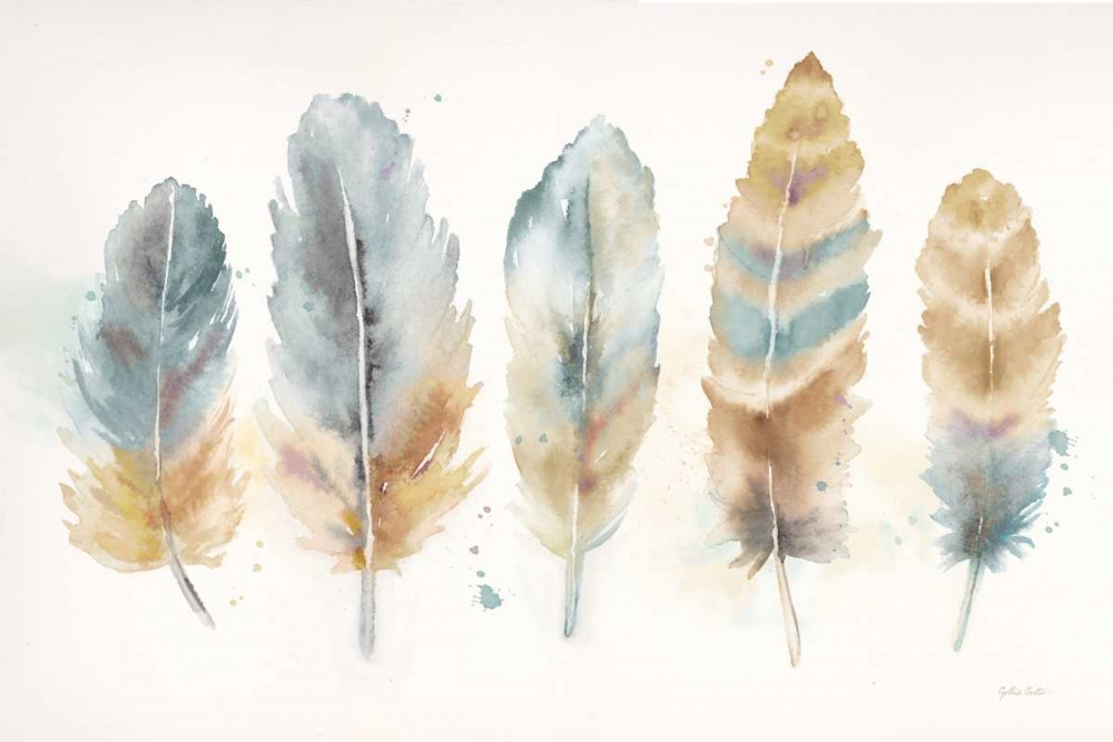 Watercolor Feathers Neutral Landscape Coulter, Cynthia 143095