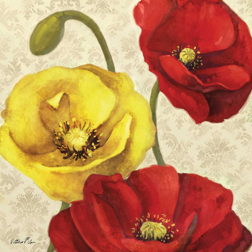 Red and Yellow Poppy Damask I Milan, Vittorio 70166
