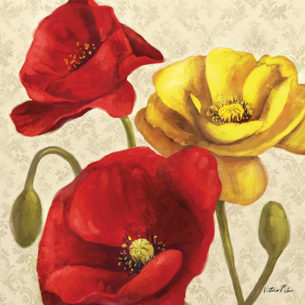 Red and Yellow Poppy Damask II Milan, Vittorio 70167