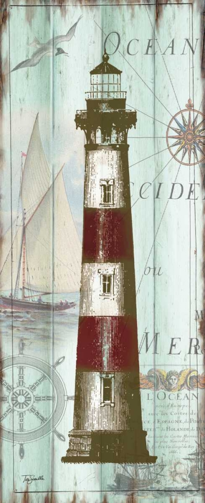 Antique La Mer Lighthouse Panel II Tre Sorelle Studios 70237
