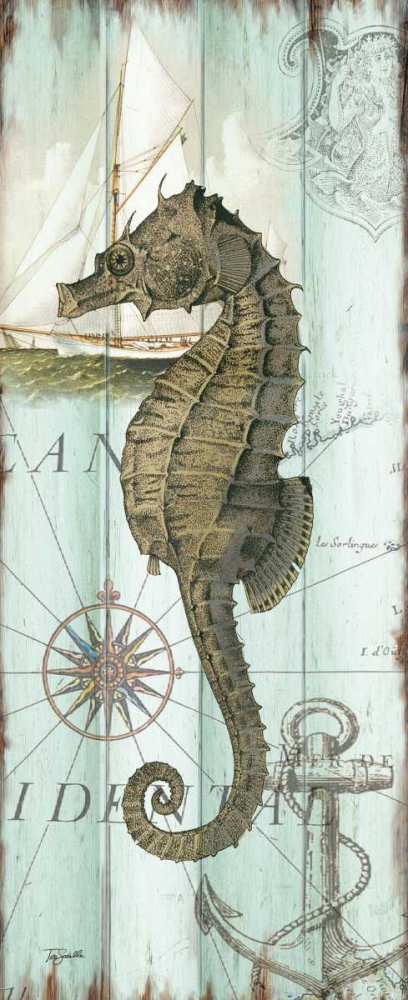 Antique La Mer Sea Creature Panel II Tre Sorelle Studios 70239
