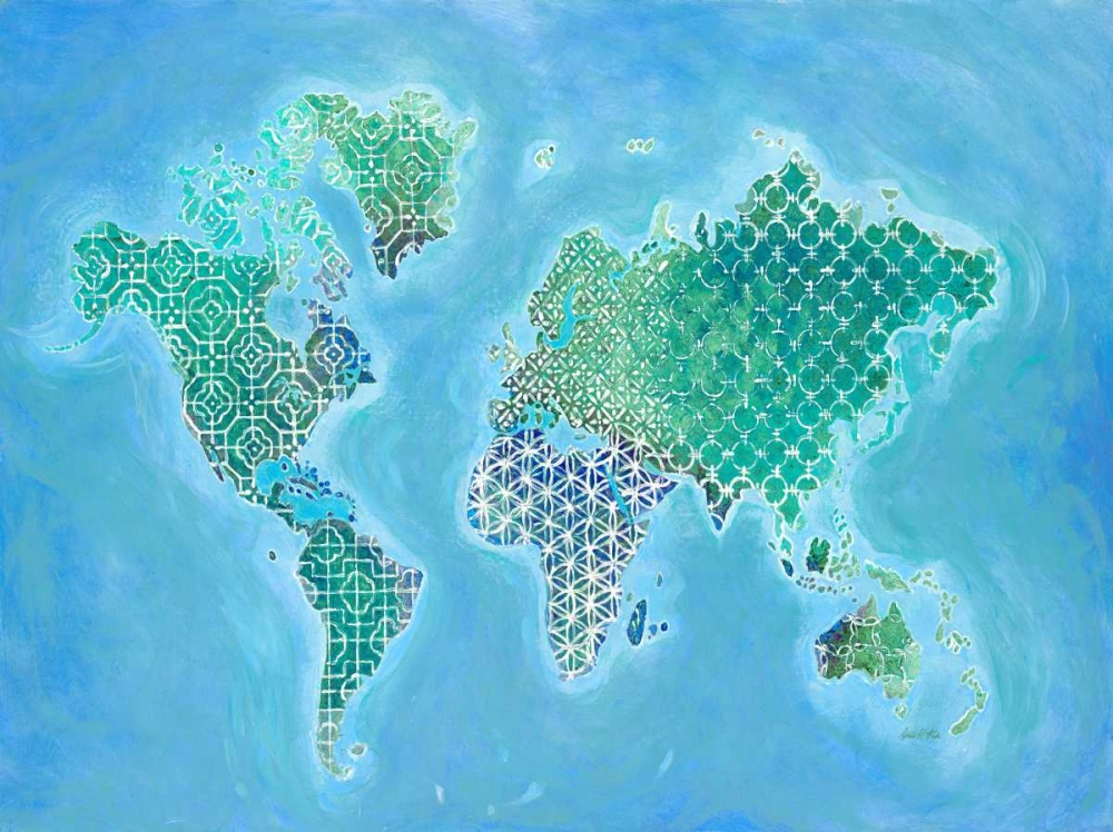 Global Patterned World Map Fisk, Arnie 142342