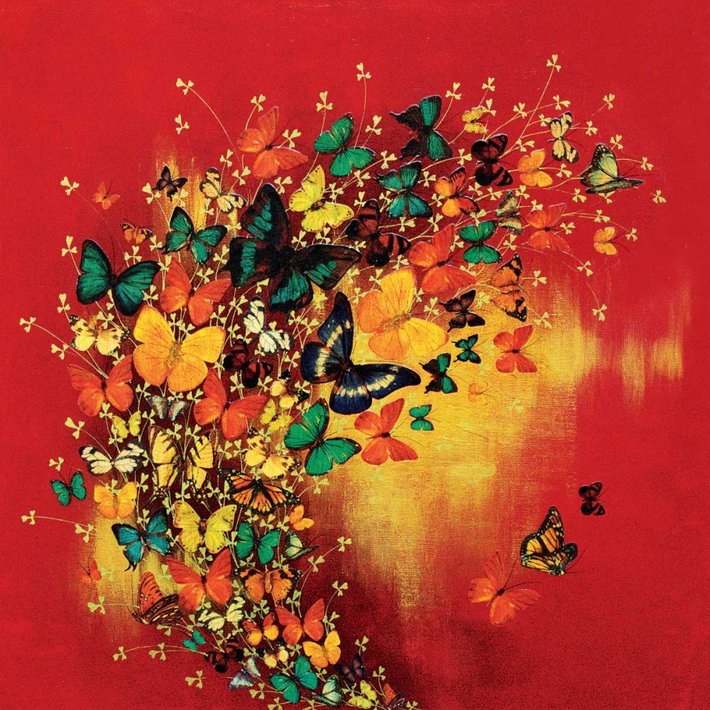 Butterflies on Red Greenwood, Lily 166284