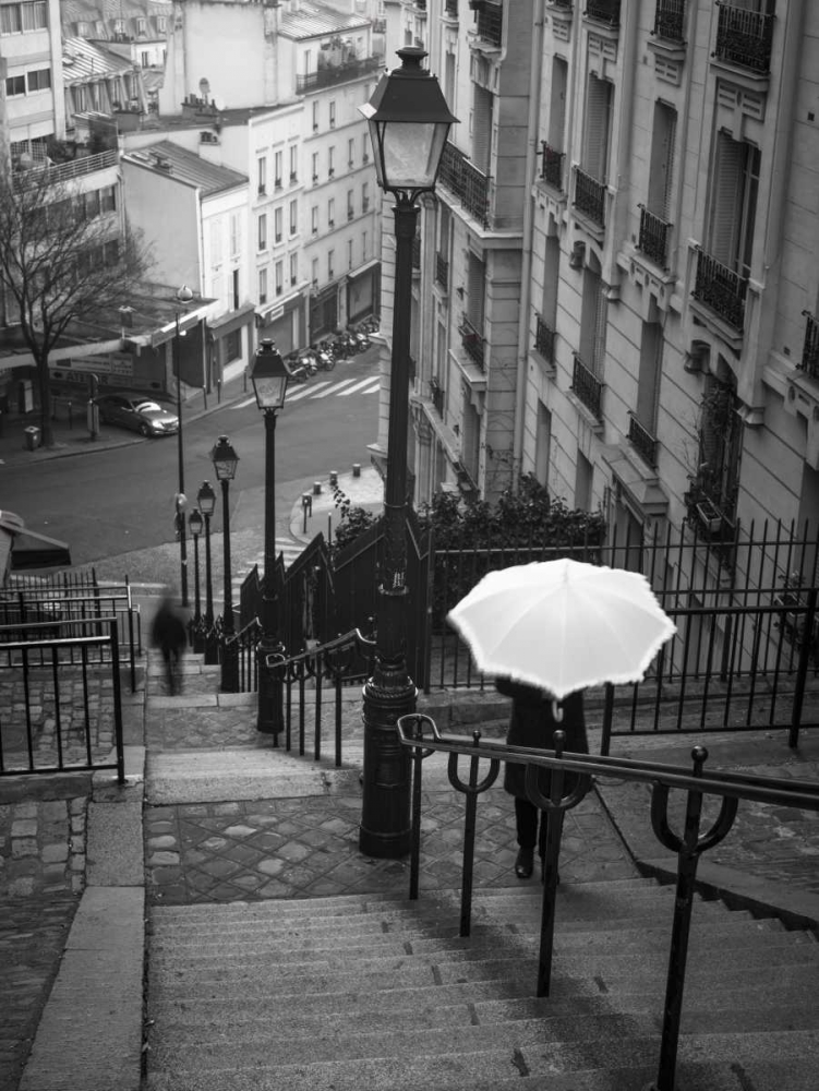Woman with white umbrella standing on staircase in Montmartre, Paris, France Frank, Assaf 103372