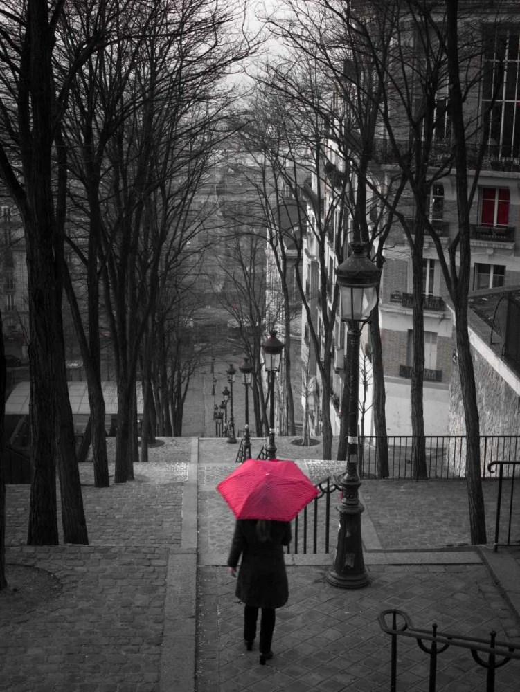 Woman with red umbrella standing on staircase in Montmartre, Paris, France Frank, Assaf 103374