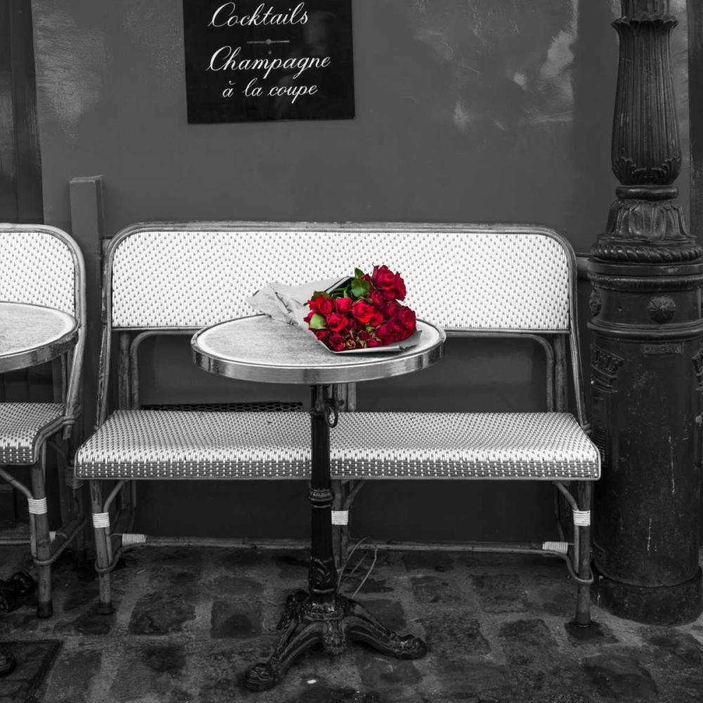 Bunch of flowers on sidewalk cafe table, Paris, France Frank, Assaf 103379