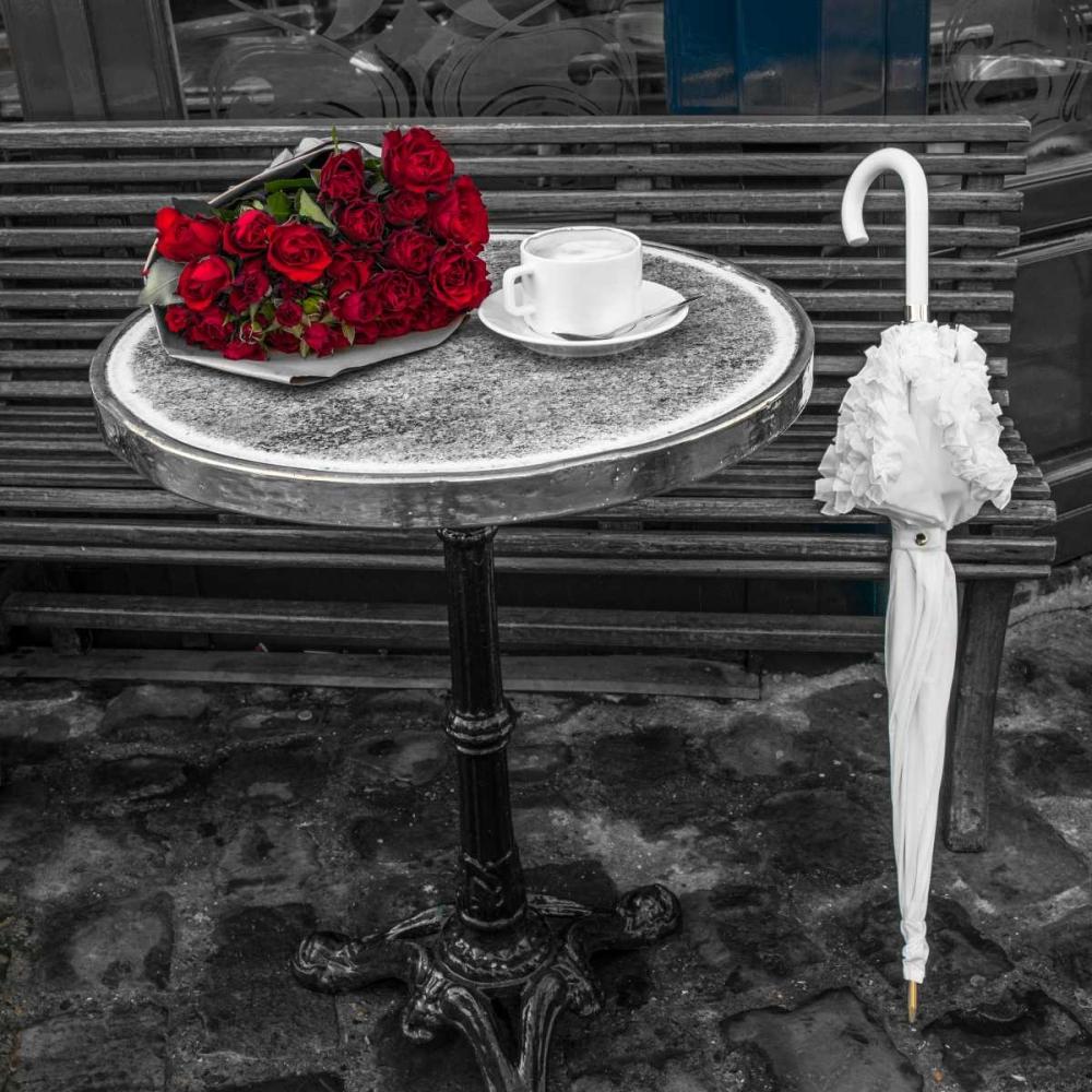 Bunch of flowers on sidewalk cafe table, Paris, France Frank, Assaf 103381