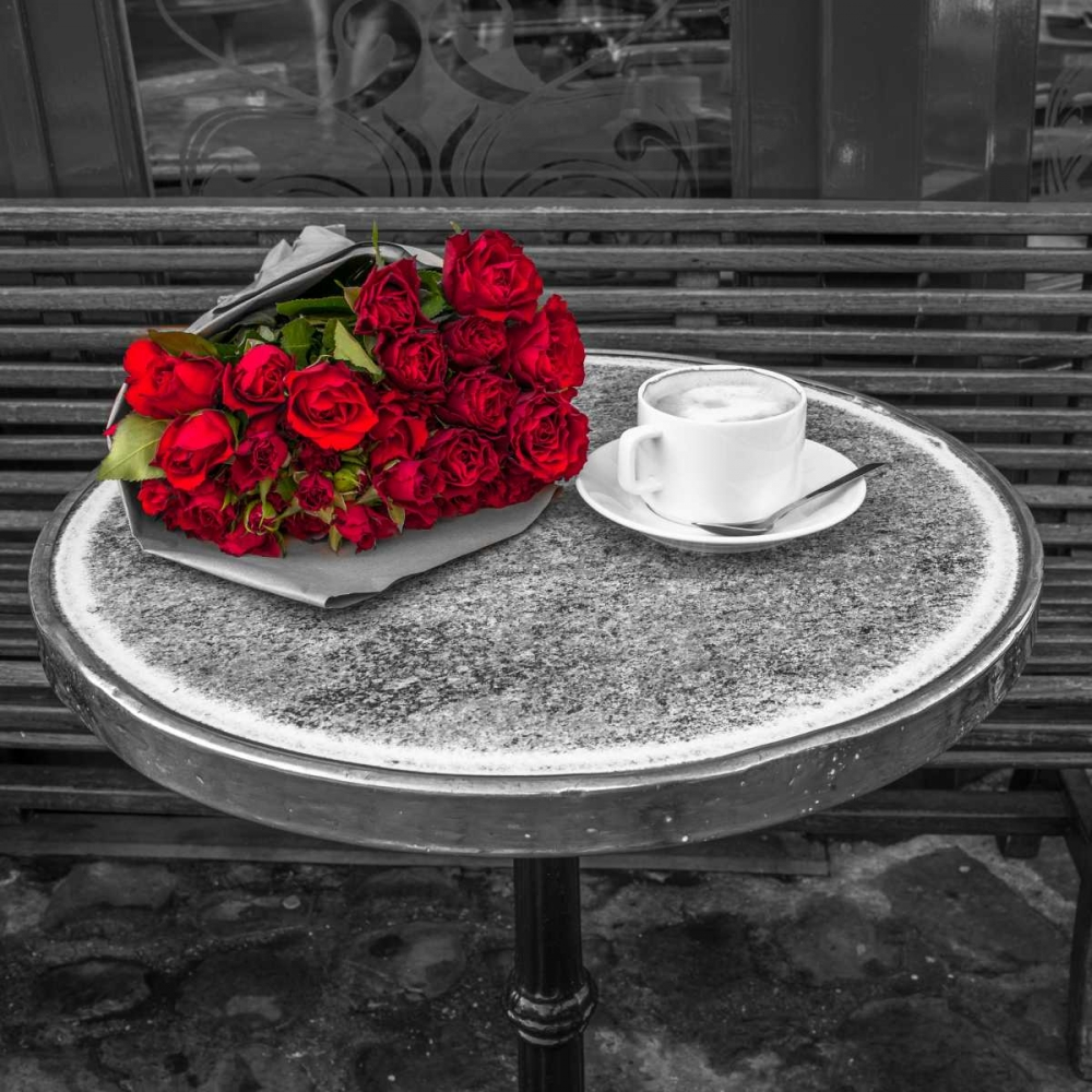 Bunch of flowers on sidewalk cafe table, Paris, France Frank, Assaf 103382