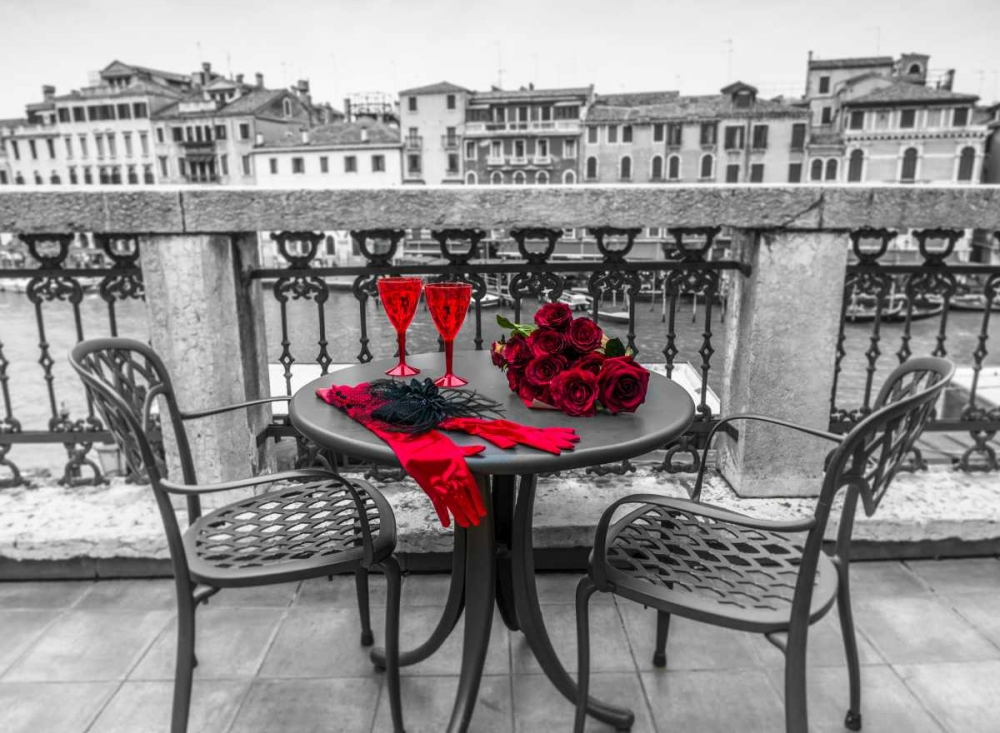 Bunch of Roses with wine glasses and female hand gloves on cafe table, Venice, Italy Frank, Assaf 103435