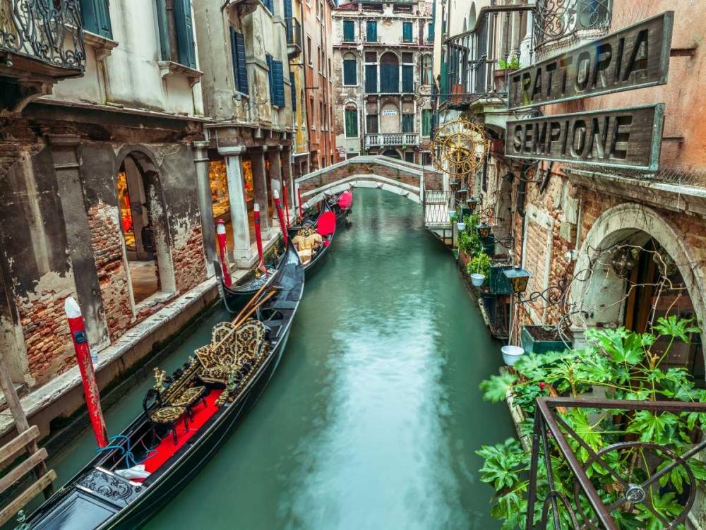 Gondola in narrow canal through old buildings, Venice, Italy Frank, Assaf 103447