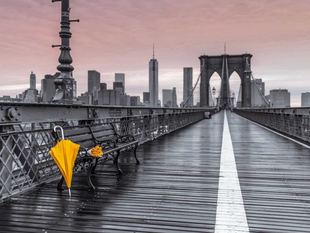 Yellow umbrella and bunch of roses on bench on pedestrian pathway, Brooklyn bridge, New York Frank, Assaf 103511