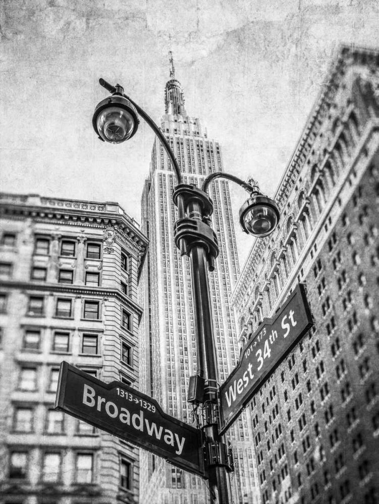 Street lamp and street signs with Empire State building in background - New York Frank, Assaf 103562