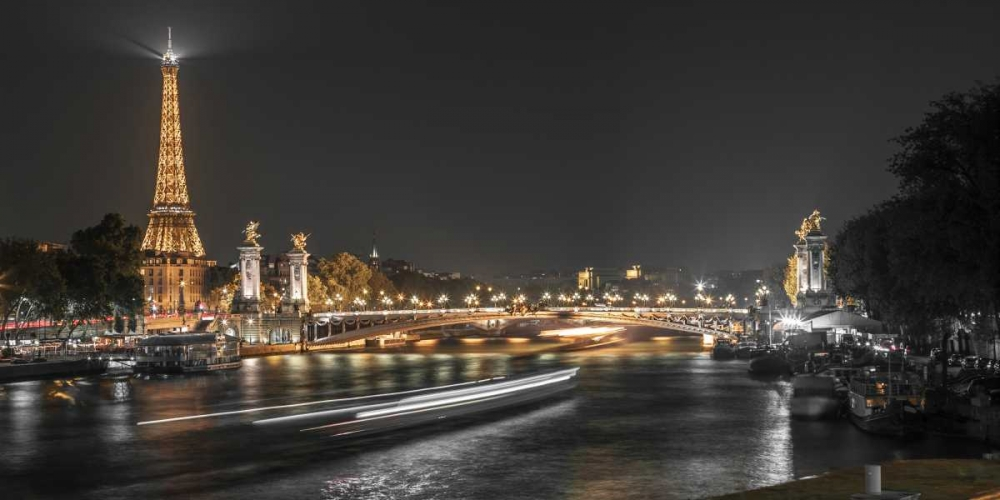 View of the river Seine with the Pont Alexandre III and Eiffel Tower in the background during night, Frank, Assaf 103703