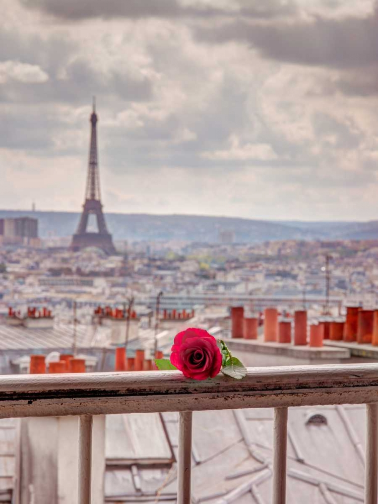 Rose on balcony railing with Eiffel Tower in background, Paris, France Frank, Assaf 103705