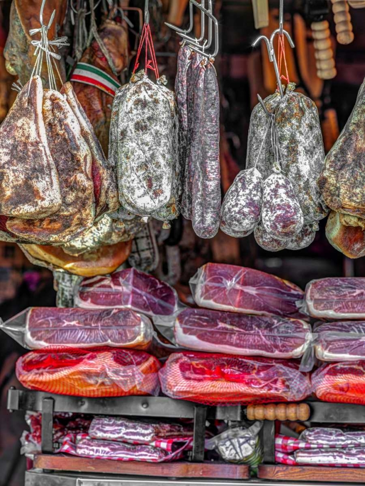 Various salami hanging in a window of an Italian Salami shop, Rome, Italy Frank, Assaf 103781